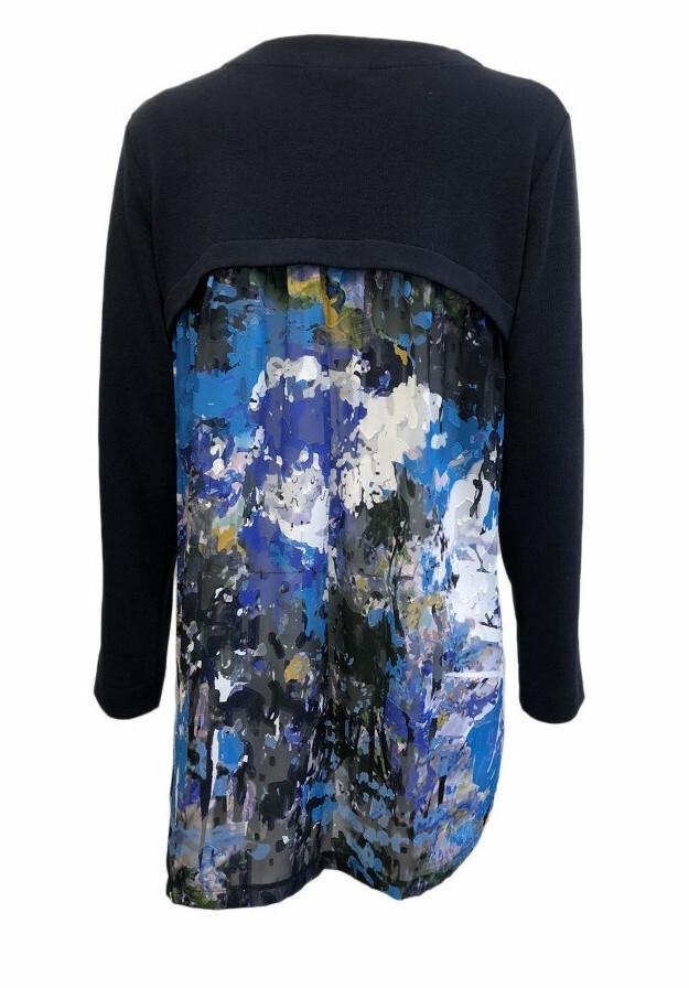 Maloka: Blue Beauty Abstract Art Tricot Long Cardigan (2 Left!)