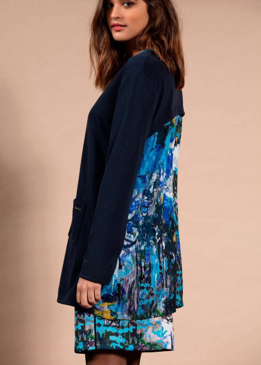 Maloka: Blue Beauty Abstract Art Tricot Long Cardigan (2 Left!) MK_BAILY