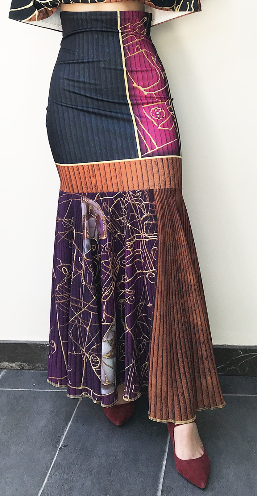 IPNG: Sliding Rooms Flared Illusion Ruffled Long Skirt (Some Ship Immed!) IPNG_SRSKRL-100