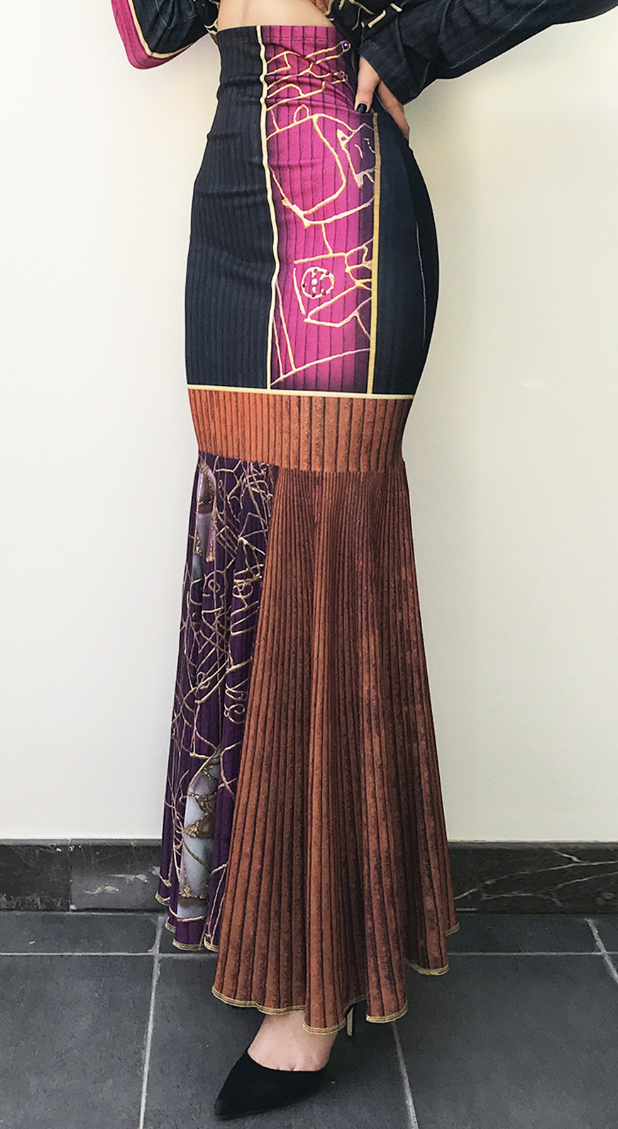IPNG: Sliding Rooms Flared Illusion Ruffled Long Skirt (Some Ship Immed!)
