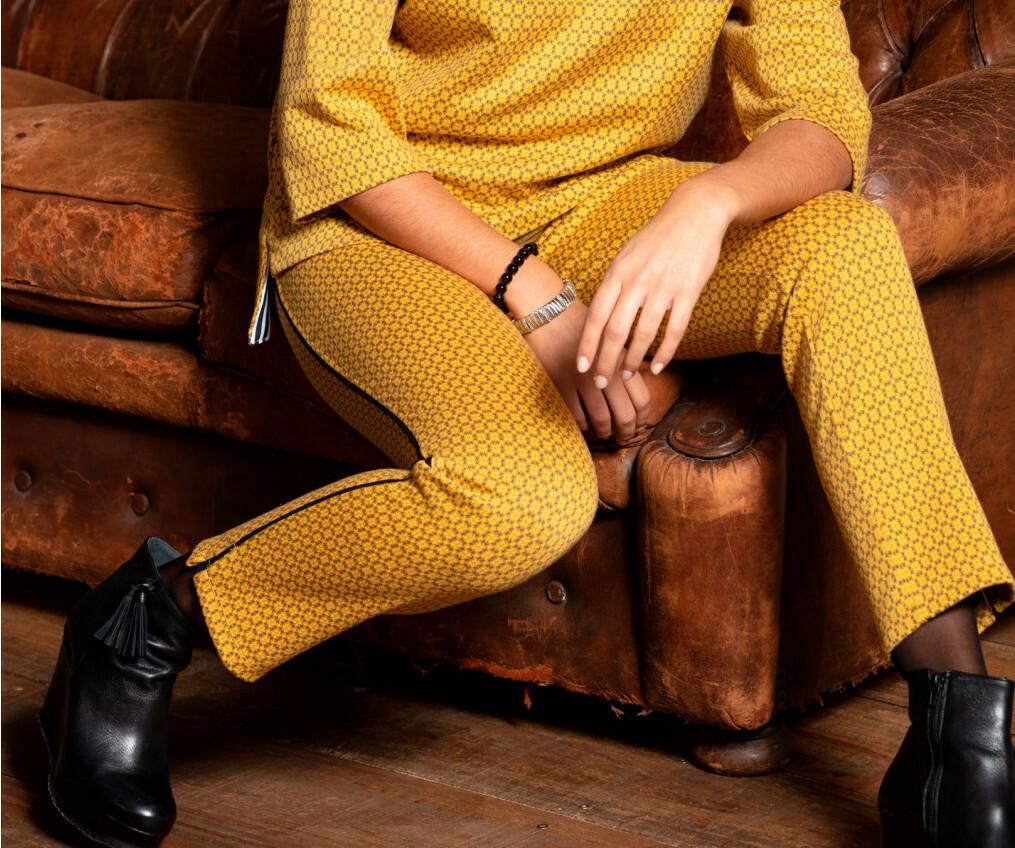 Maloka: Sedona Rock Saffron Jacquard Contrast Pants (Few Left!) MK_FLORANT
