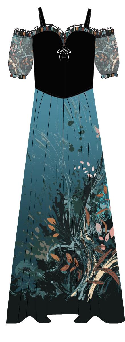 Paul Brial: Underwater Flight Abstract Art Corset Maxi Dress