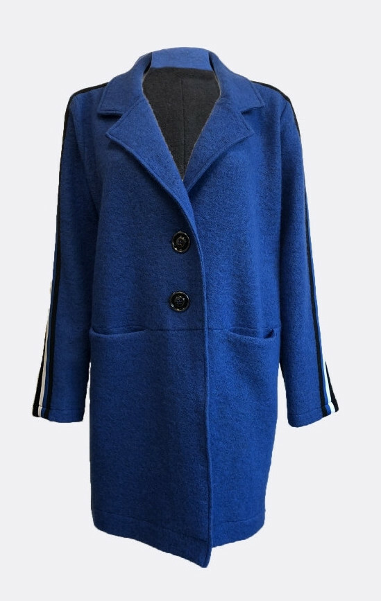 Maloka: Contrast Double Breasted Long Boiled Wool Coat (No More Itchy Wool!) MK_LYLE