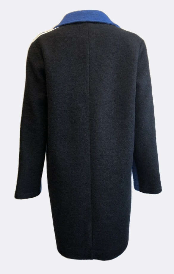 Maloka: Contrast Double Breasted Long Boiled Wool Coat (No More Itchy Wool!)