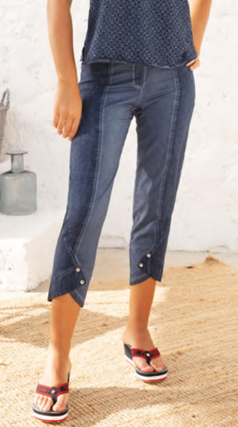 Maloka: Shades of Blue Linen Cropped Pant MK_TANZIE