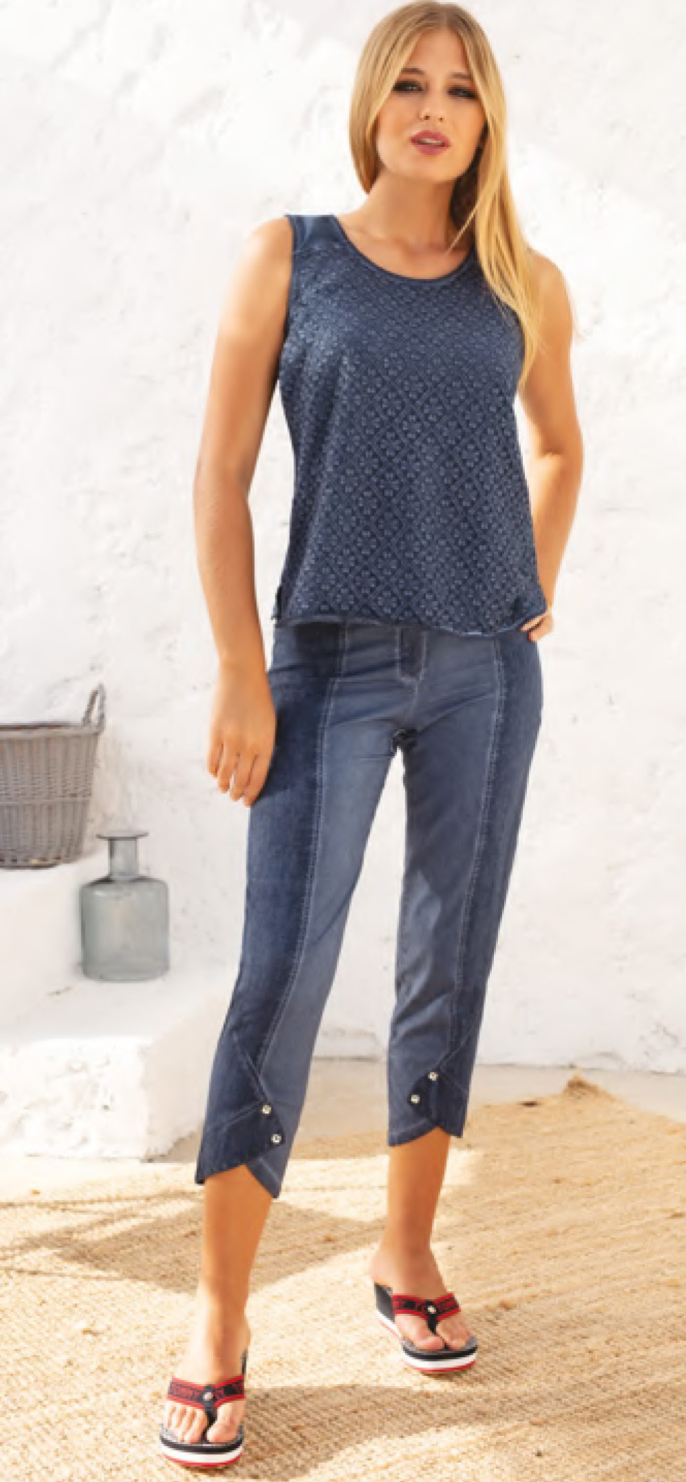 Maloka: Shades of Blue Linen Cropped Pant (2 Left!)