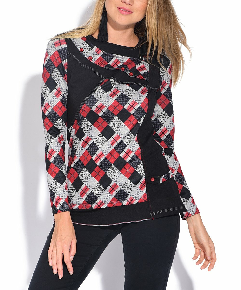 S'Quise Paris: Pretty In Plaid Patchwork Top SQ_RED