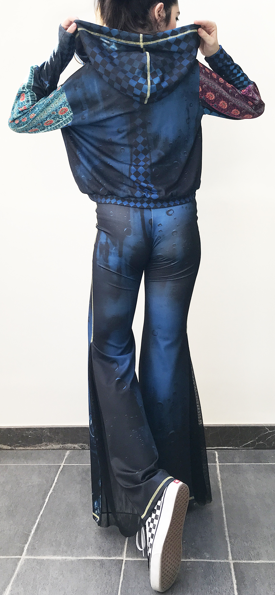 IPNG: Turquarium Jeweled Underwater Illusion Scene Flared Pants (Some Ship Immed!)