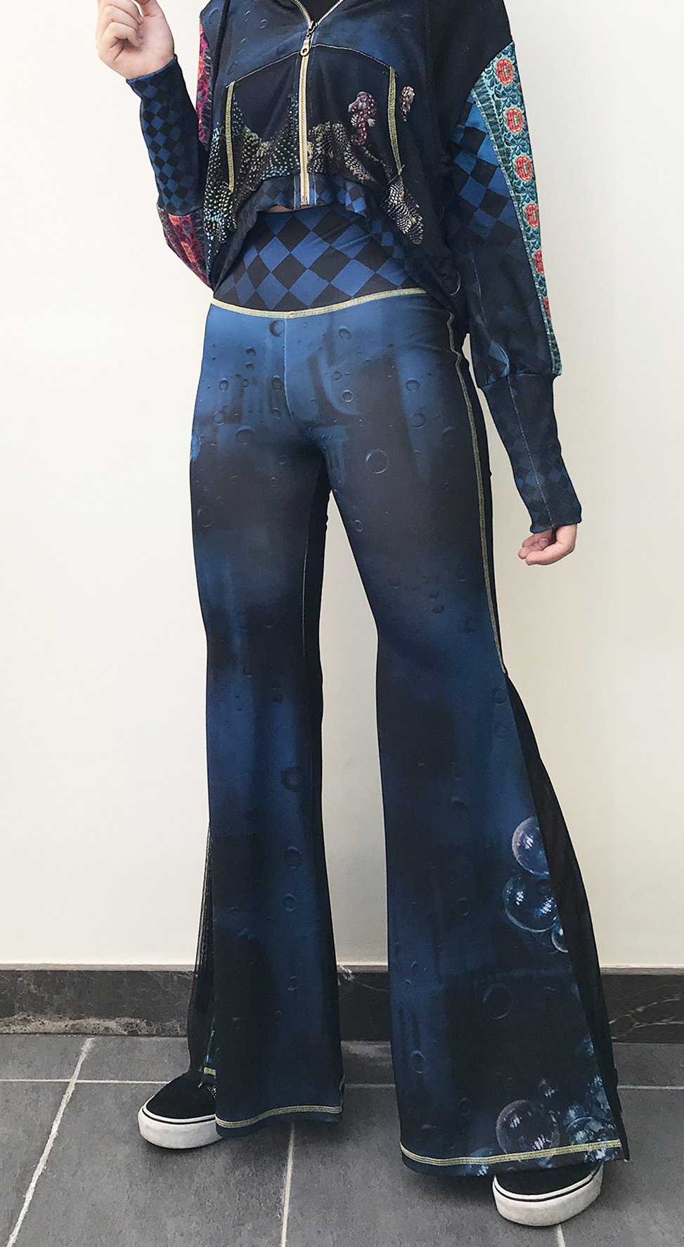 IPNG: Turquarium Jeweled Underwater Illusion Scene Flared Pants (Some Ship Immed!) IPNG_TQYP-062