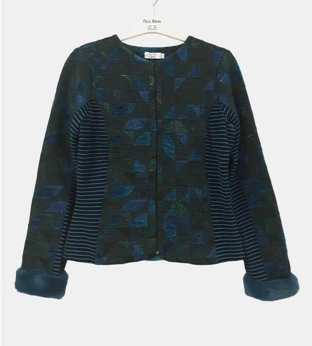 Paul Brial: Constant Contrast Jacquard Faux Fur Jacket