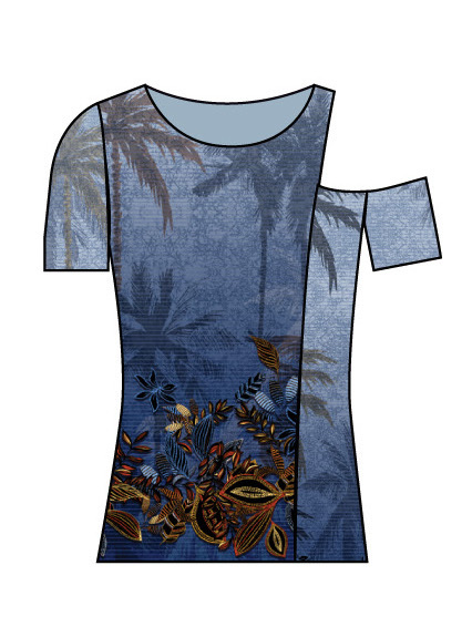 Paul Brial: Palm Tree Printed One-Sided Open Shoulder Top SOLD OUT