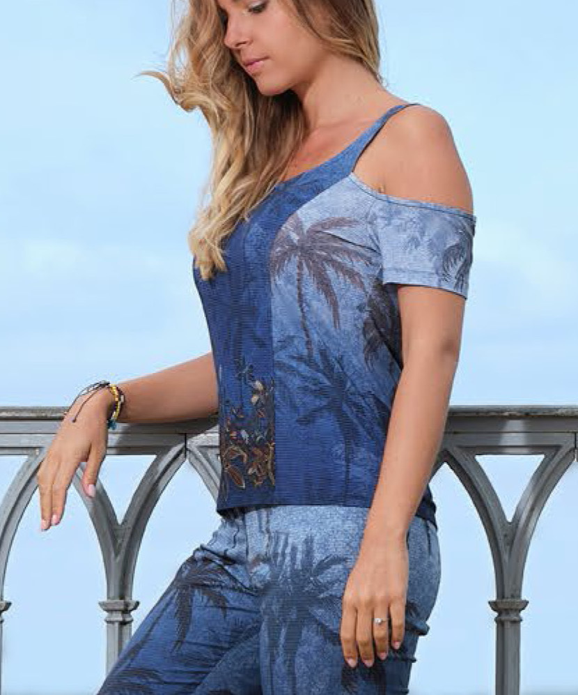 Paul Brial: Palm Tree Printed One-Sided Open Shoulder Top SOLD OUT PB_TOURISME