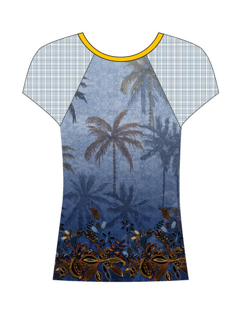 Paul Brial: Palm Tree Printed Mesh Sleeve T-Shirt SOLD OUT PB_croisiere