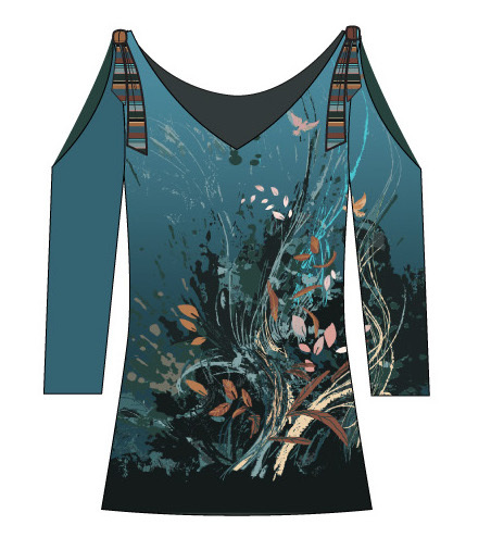 Paul Brial: Underwater Flight Abstract Art Cold Shoulder T-Shirt