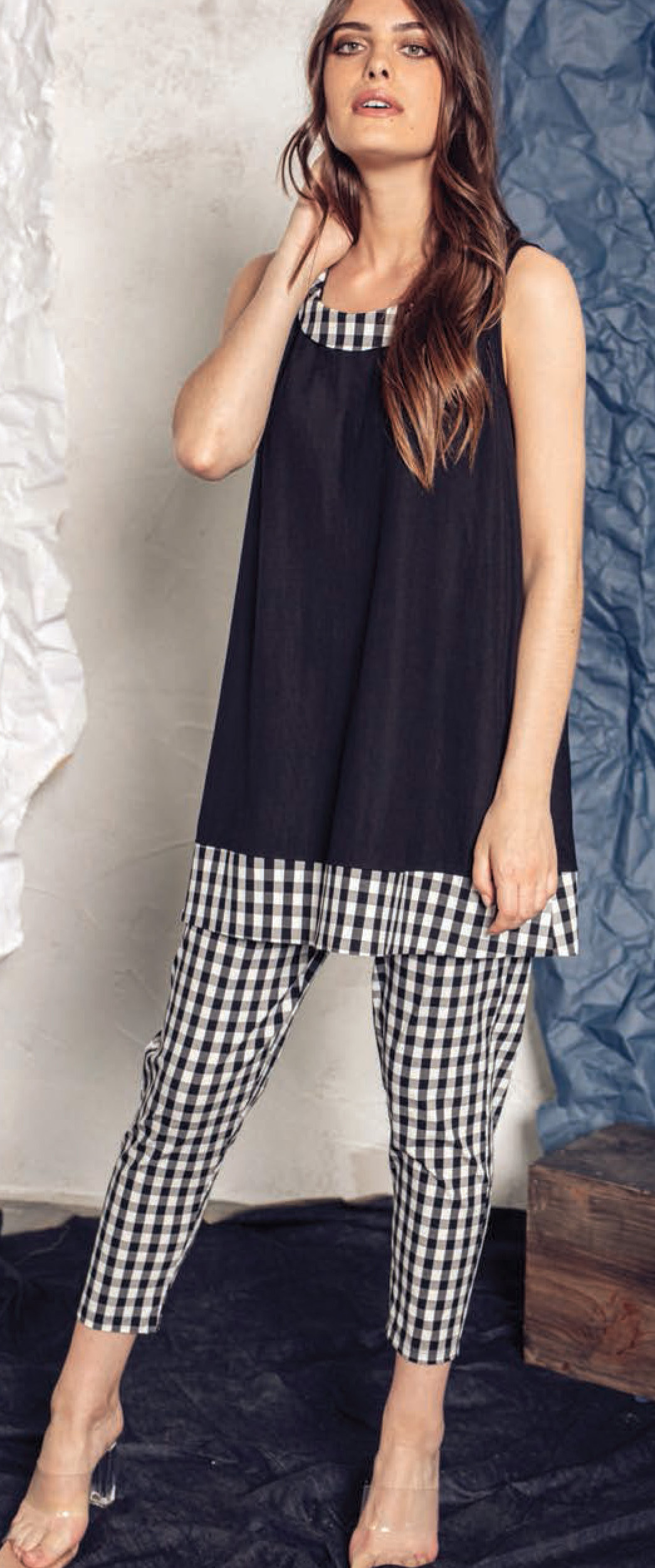 G!oze: Checkered Contrast Flared Tunic