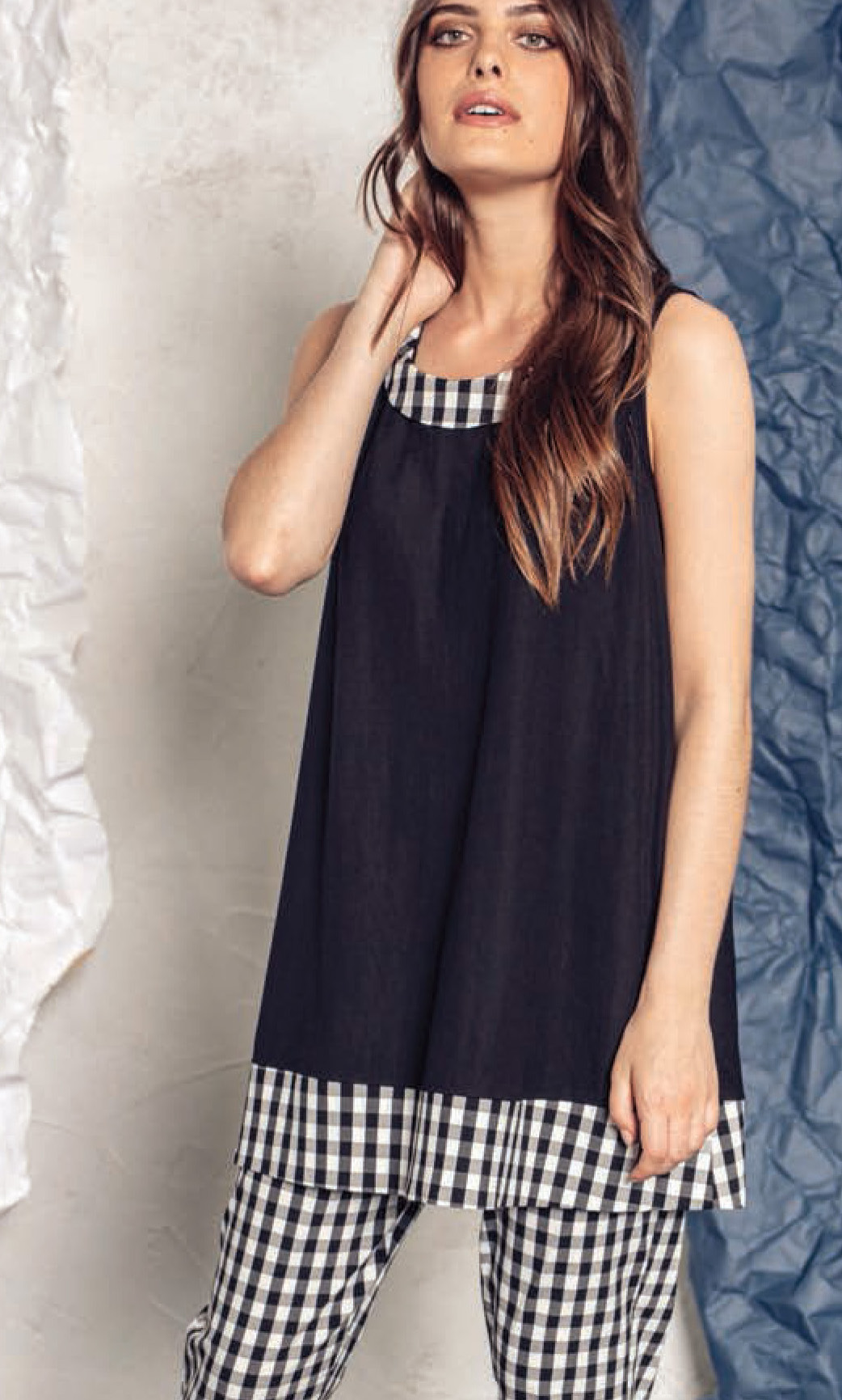 G!oze: Checkered Contrast Flared Tunic G_FLORE