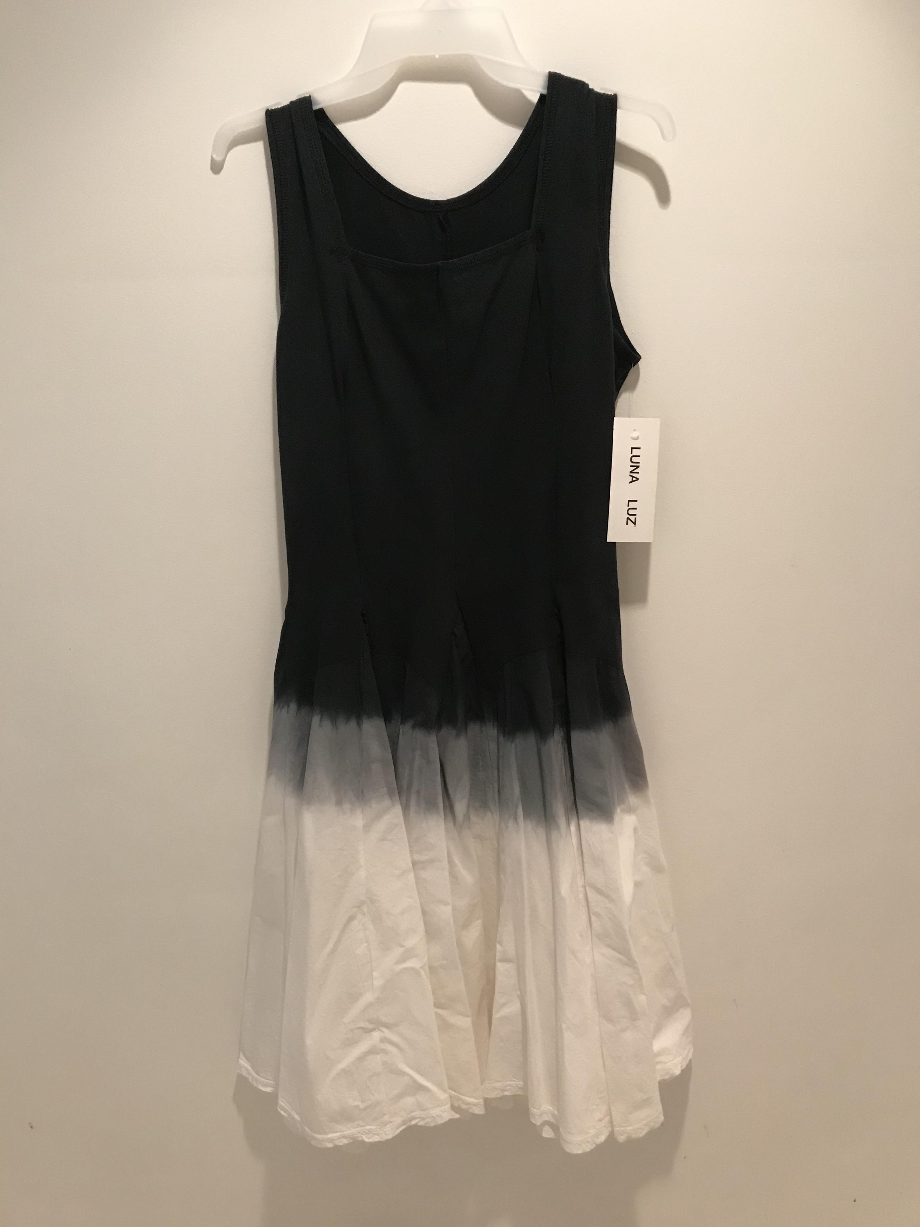 Luna Luz: Square Neck Godet Dyed Tank Dress (Ships Immed in: Black Ombre!)