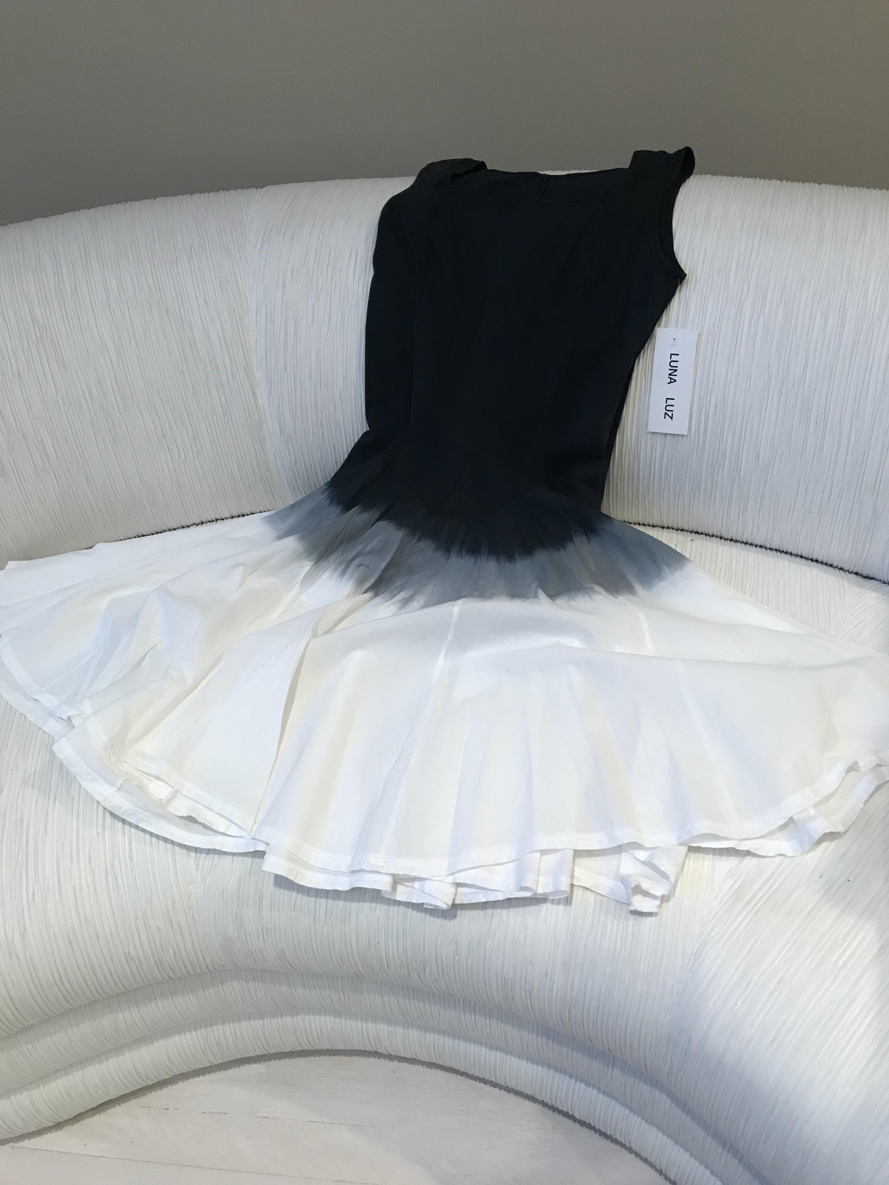 Luna Luz: Square Neck Godet Dyed Tank Dress SOLD OUT