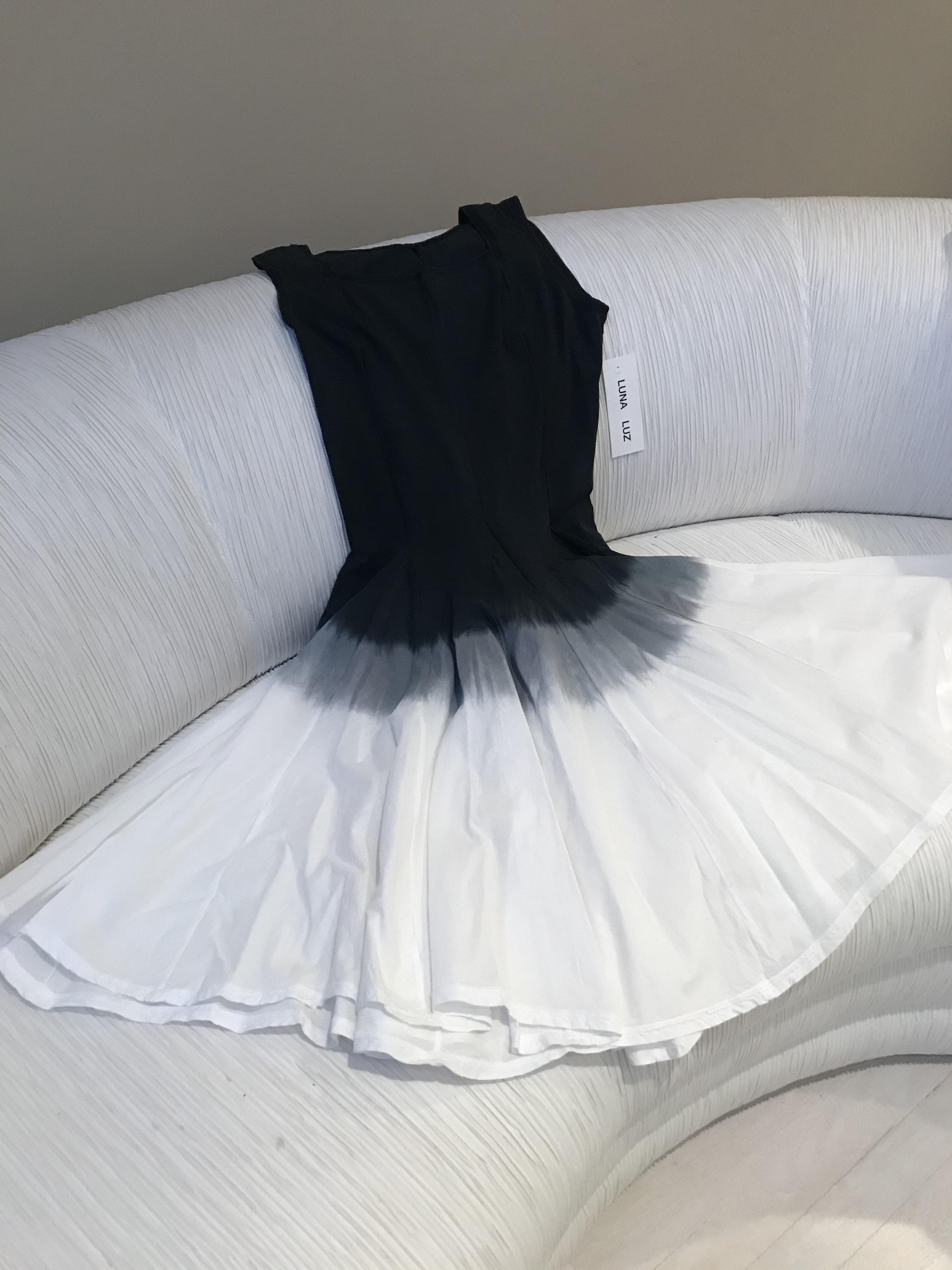 Luna Luz: Square Neck Godet Dyed Tank Dress SOLD OUT LL_5533_blk_ombre