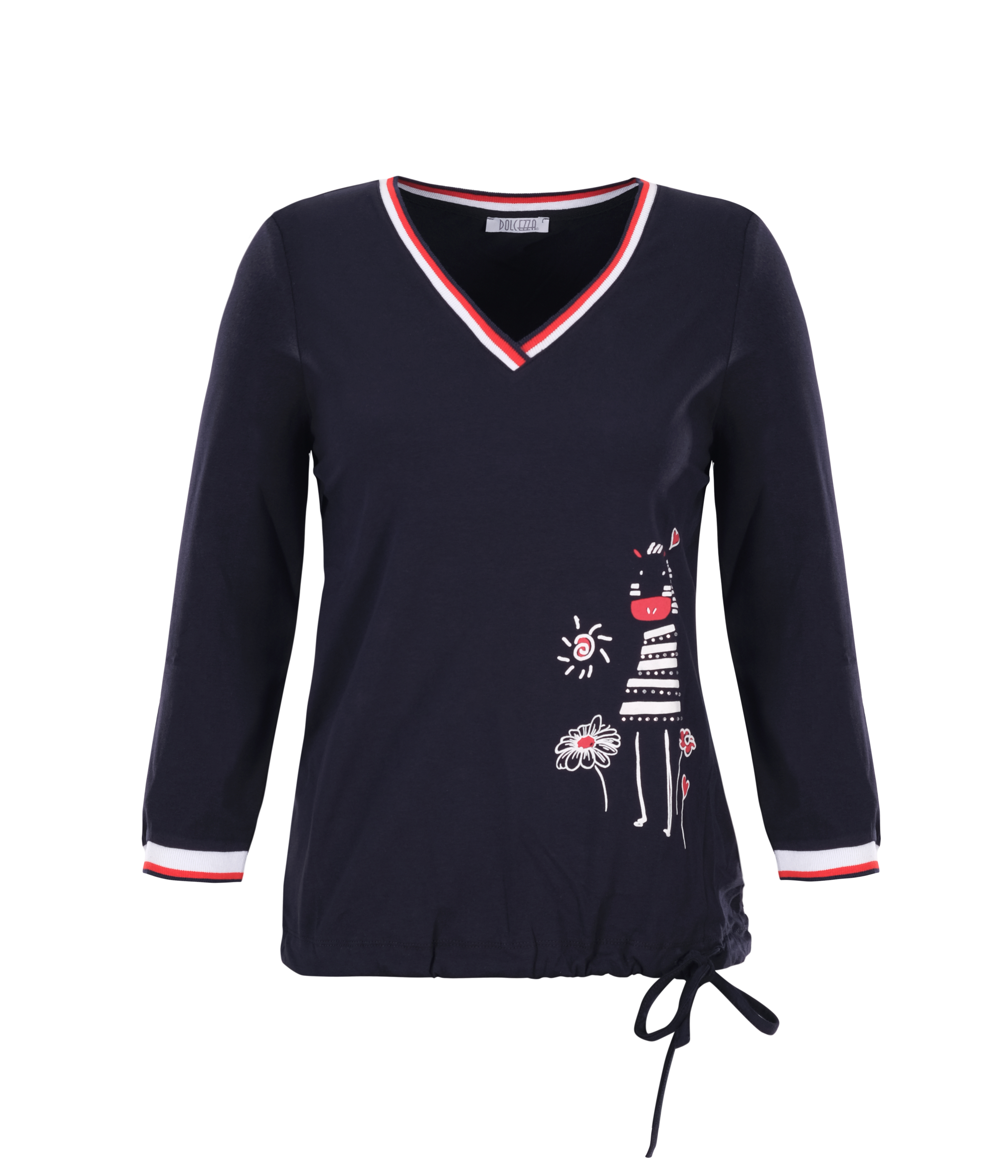 Dolcezza: Humour Me In Navy Tied Hem T-Shirt Dolcezza_21101