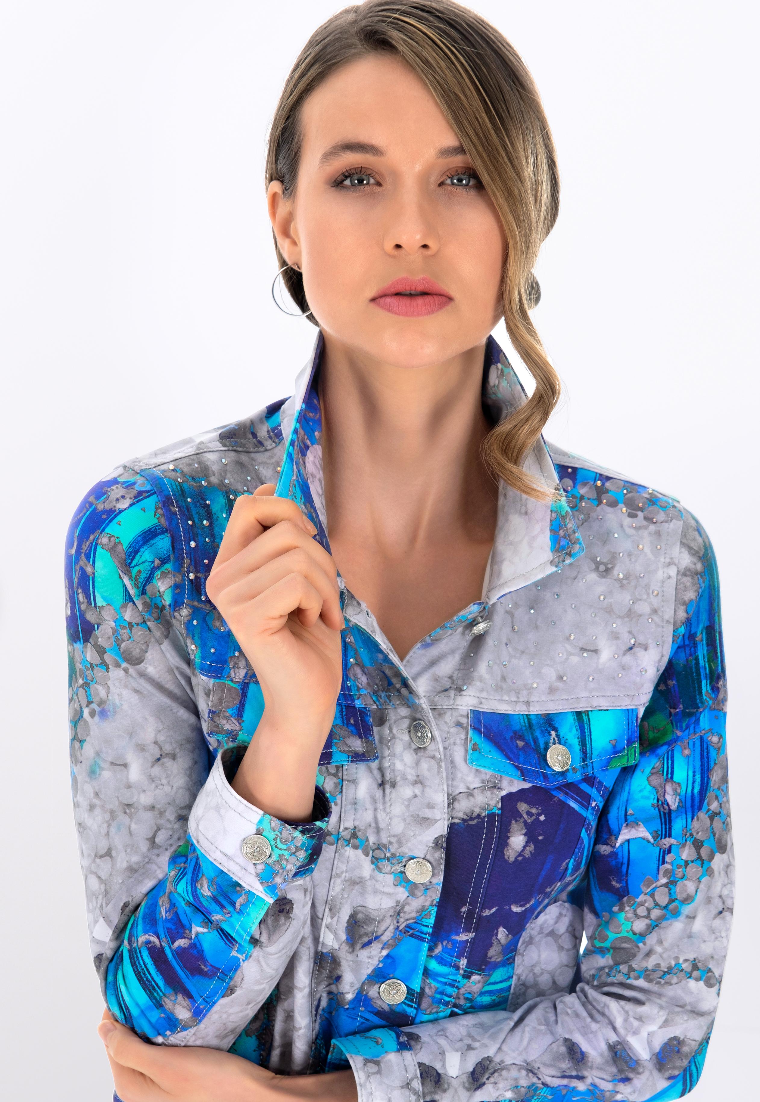 Simply Art Dolcezza: Blue & White Yin Yang Art soft Denim Jacket (1 Left!) DOLCEZZA_SIMPLYART_21688