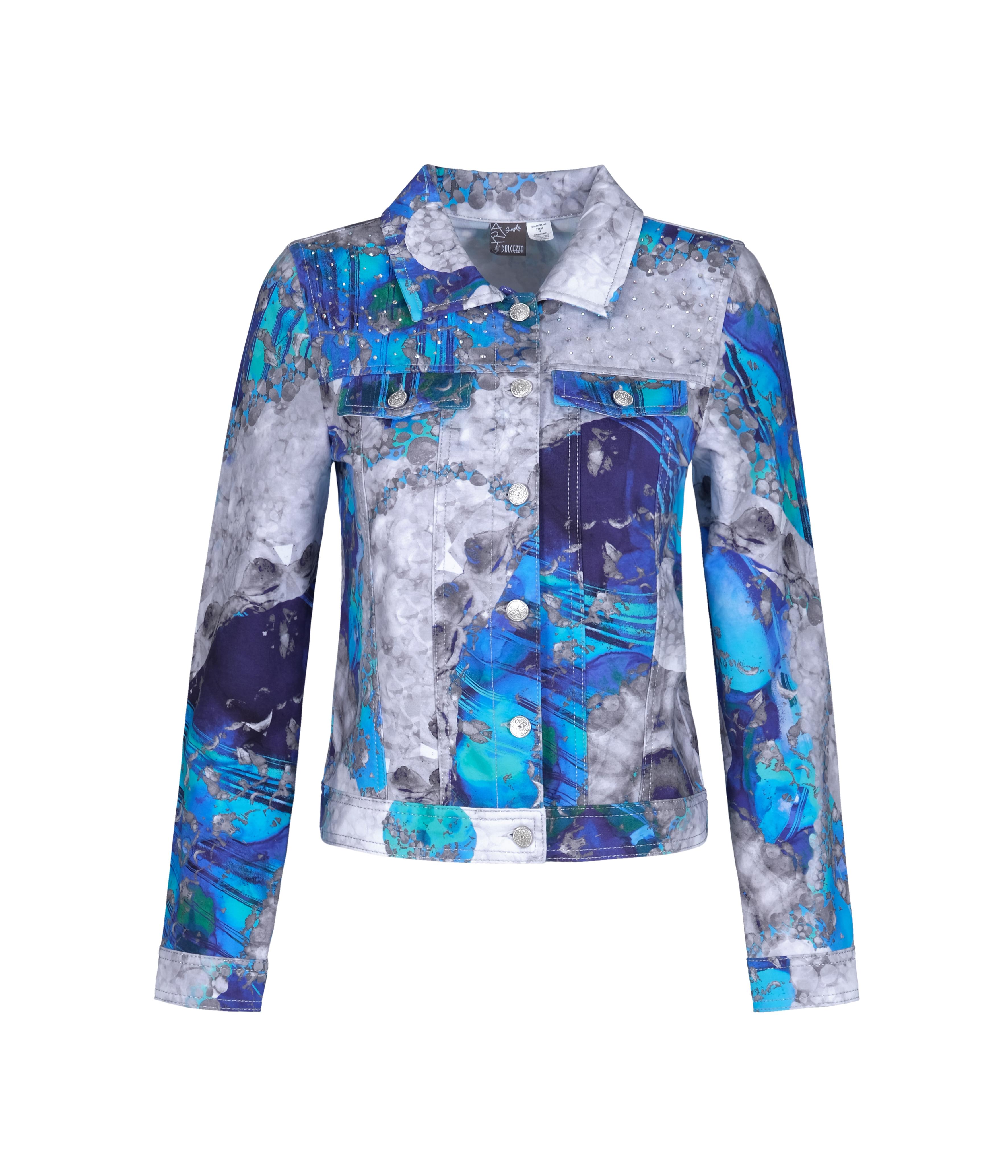 Simply Art Dolcezza: Blue & White Yin Yang Art soft Denim Jacket (1 Left!)