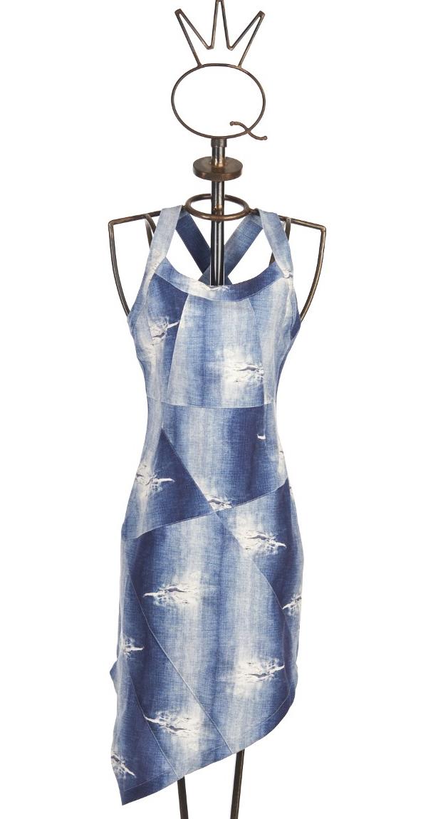 Save The Queen: Distressed Denim Illusion Sheath Dress STQ_4110
