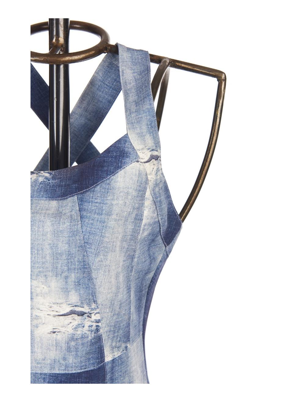 Save The Queen: Distressed Denim Illusion Sheath Dress
