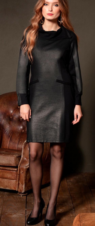 Maloka: Black On Black Jacquard Contrast Dress MK_DAEL_N