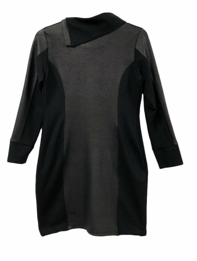 Maloka: Black On Black Jacquard Contrast Dress