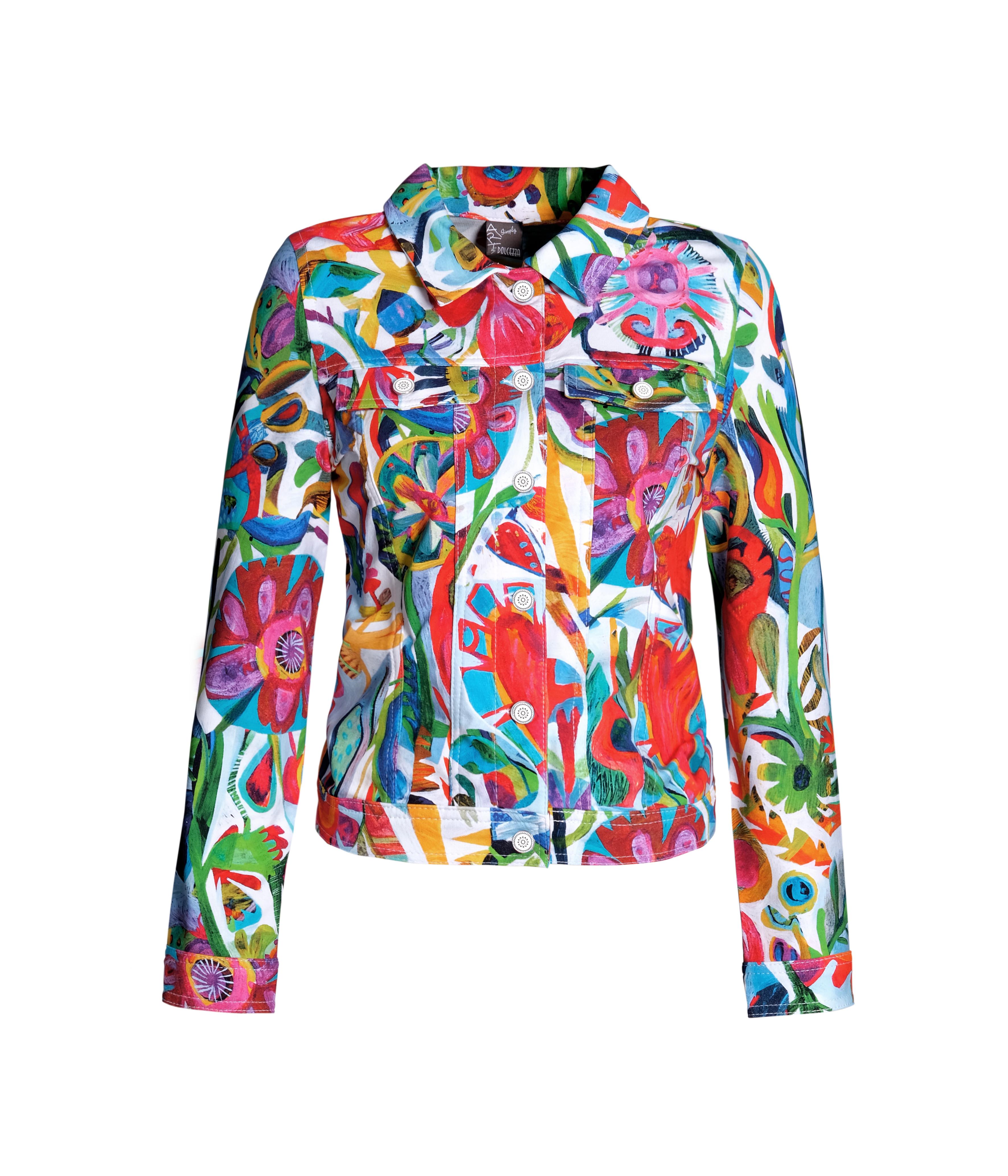 Simply Art Dolcezza: Flower Heart Abstract Art Soft Denim Jacket (Few Left!) DOLCEZZA_SIMPLYART_21629