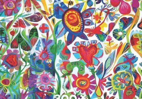 Simply Art Dolcezza: Flower Heart Abstract Art Soft Denim Jacket (Few Left!)