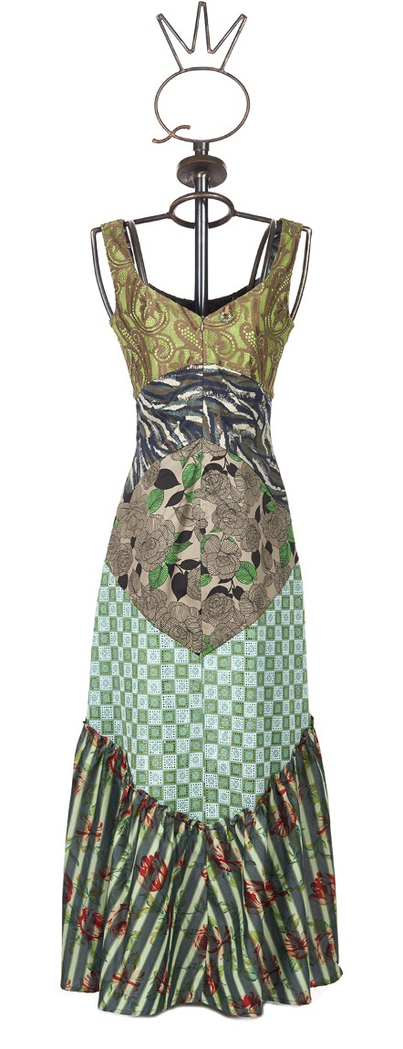 Save The Queen: Blooming Jade Patchwork Maxi Dress