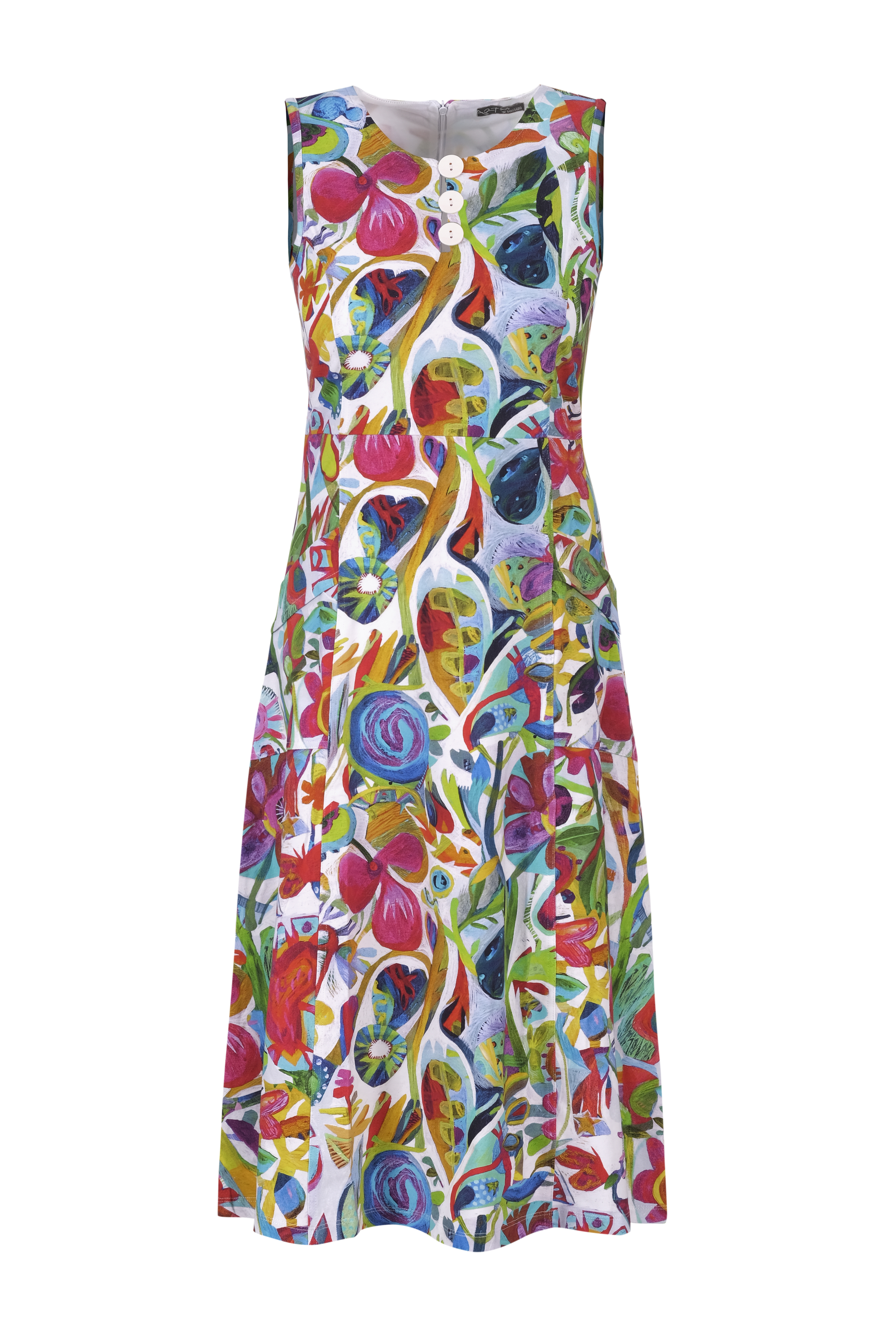 Simply Art Dolcezza: Flower Heart Abstract Art Midi Dress (1 Left!)