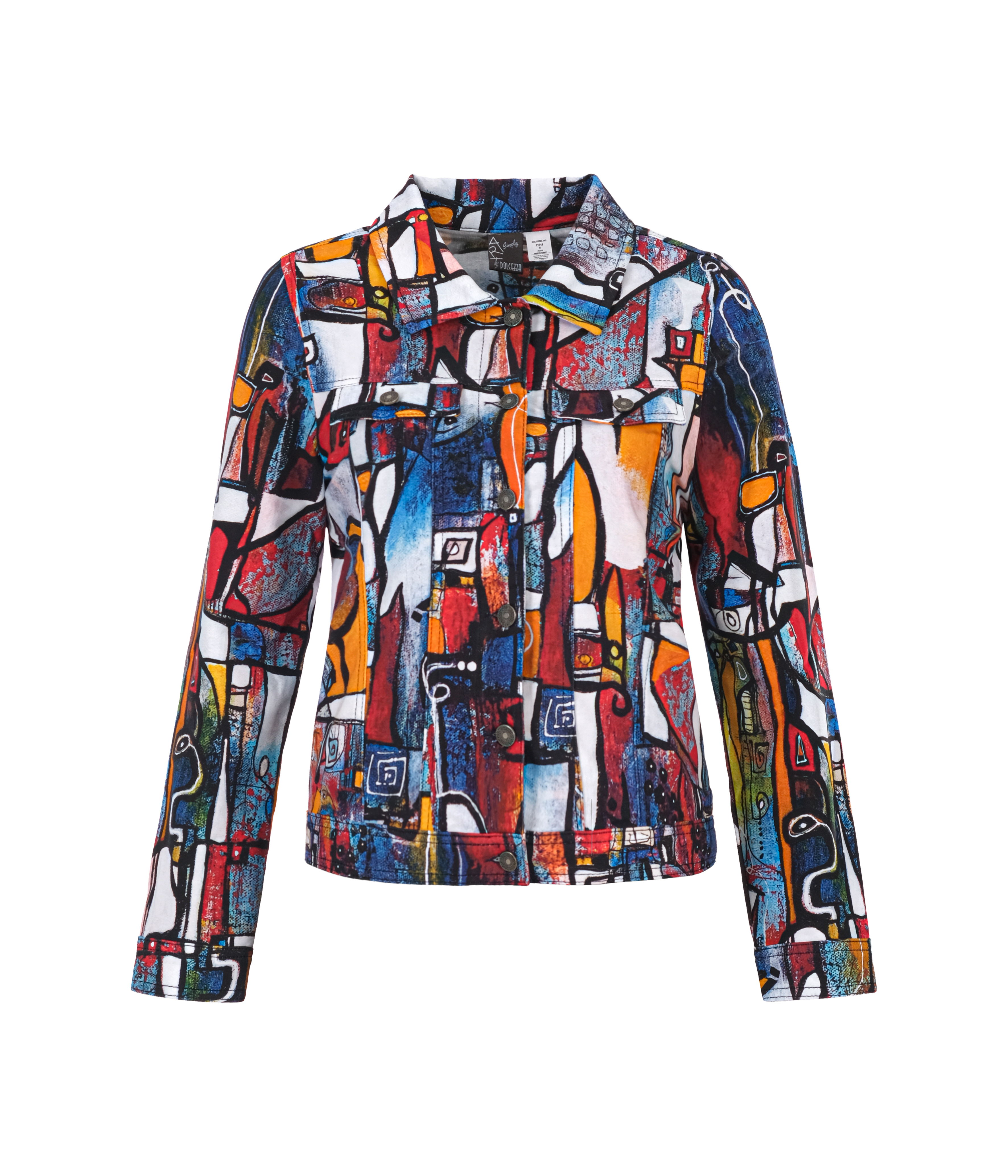 Simply Art Dolcezza: It's Complicated Crazy Cool Abstract Art Soft Denim Jacket Dolcezza_Simplyart_21718