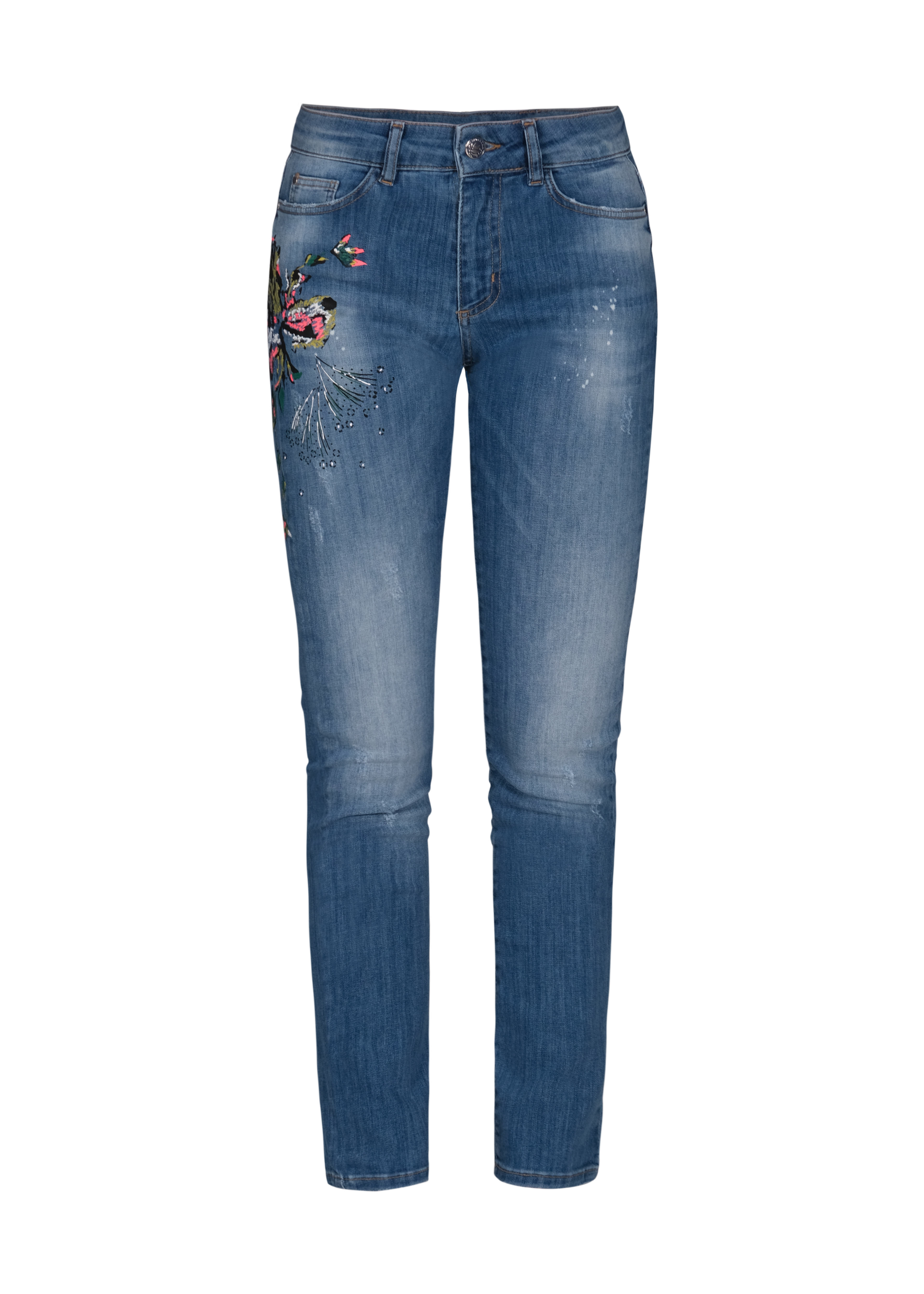 Dolcezza: Comfort Created Pink Butterfly Painted High Waisted Jeans Dolcezza_21305