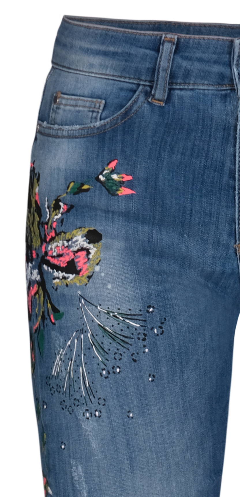 Dolcezza: Comfort Created Pink Butterfly Painted High Waisted Jeans