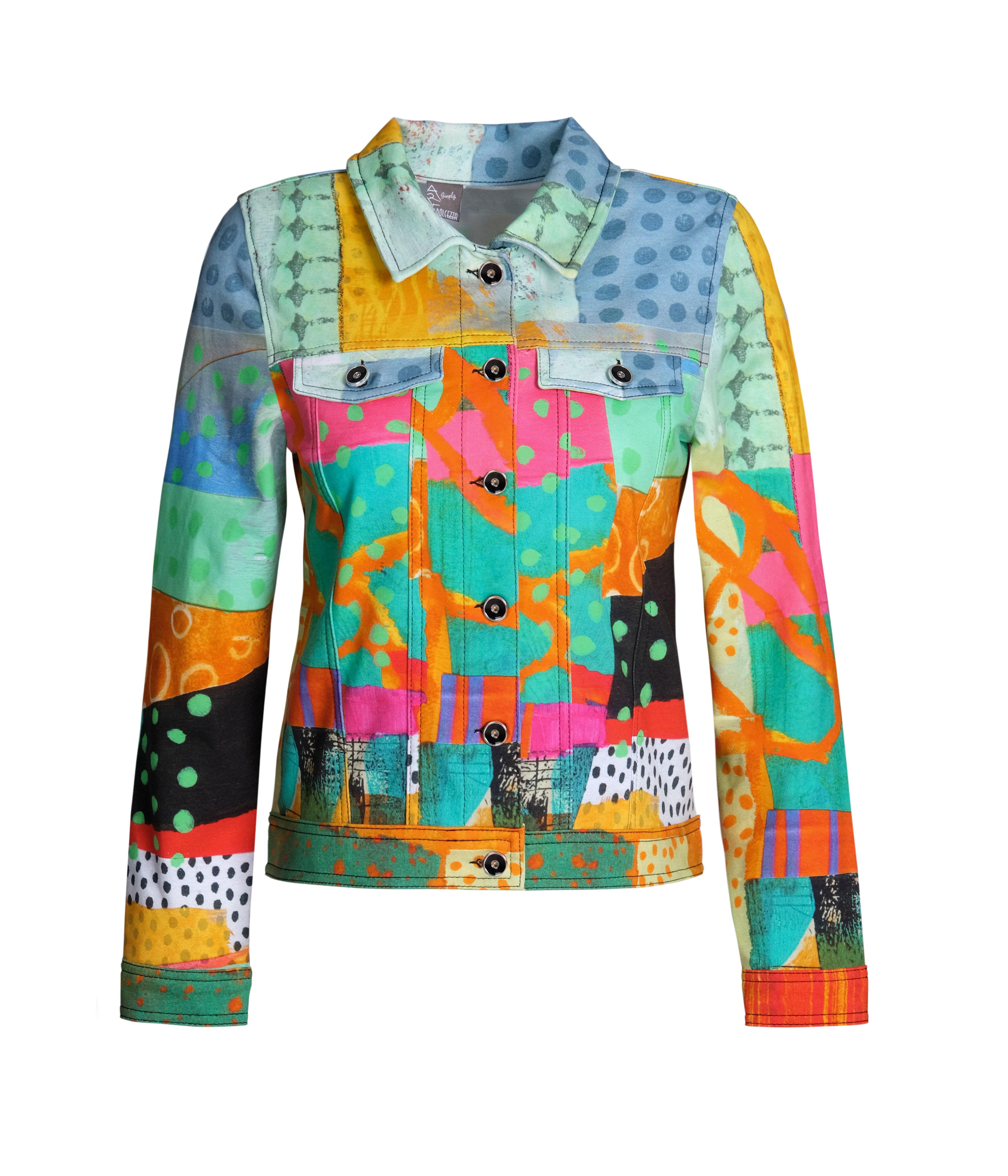 Simply Art Dolcezza: Leisurely Love Stowe In October Abstract Art Soft Denim Jacket DOLCEZZA_SIMPLYART_21659