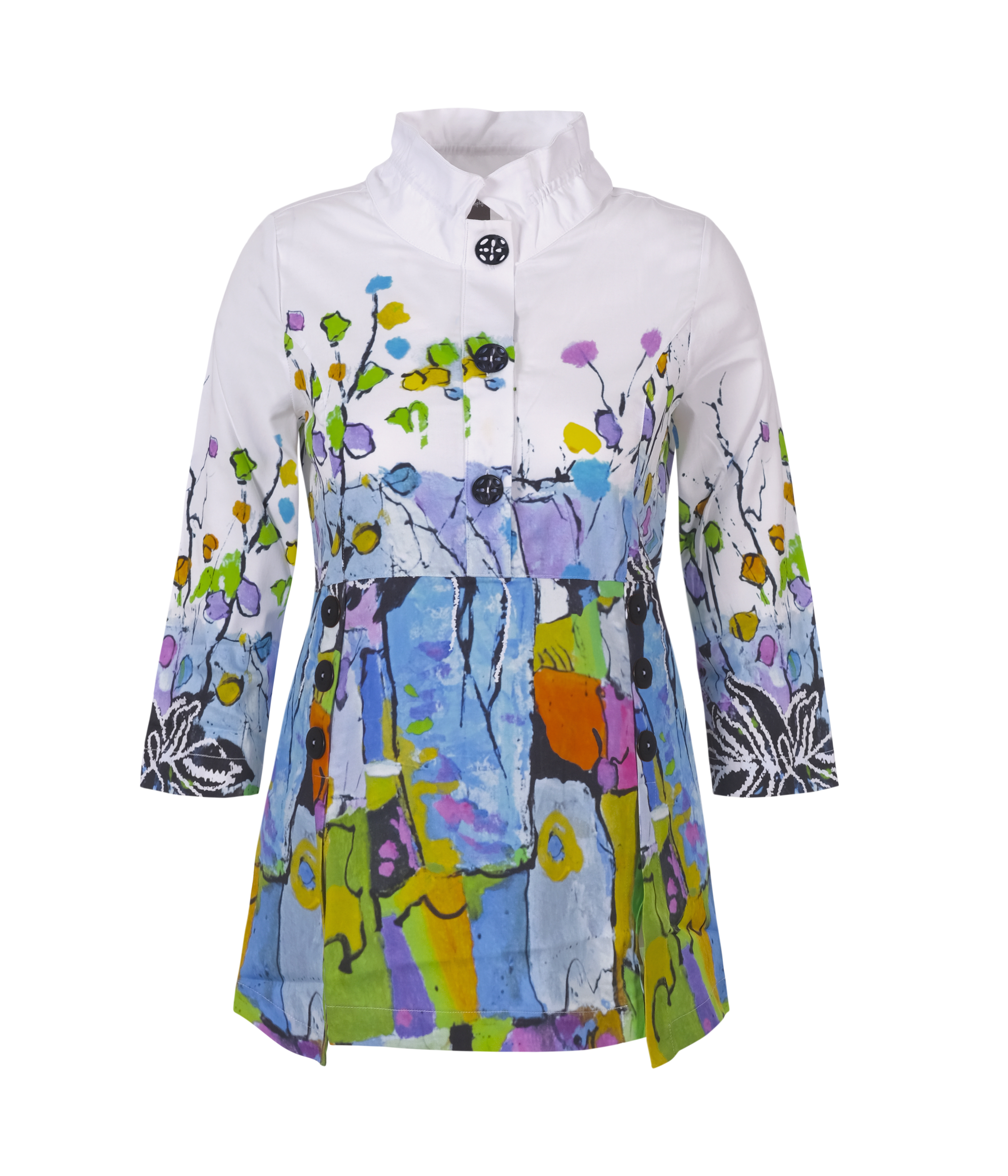 Simply Art Dolcezza: Still Life For A Wedding Party Buttoned Down Flared Art Blouse DOLCEZZA_SIMPLYART_21665