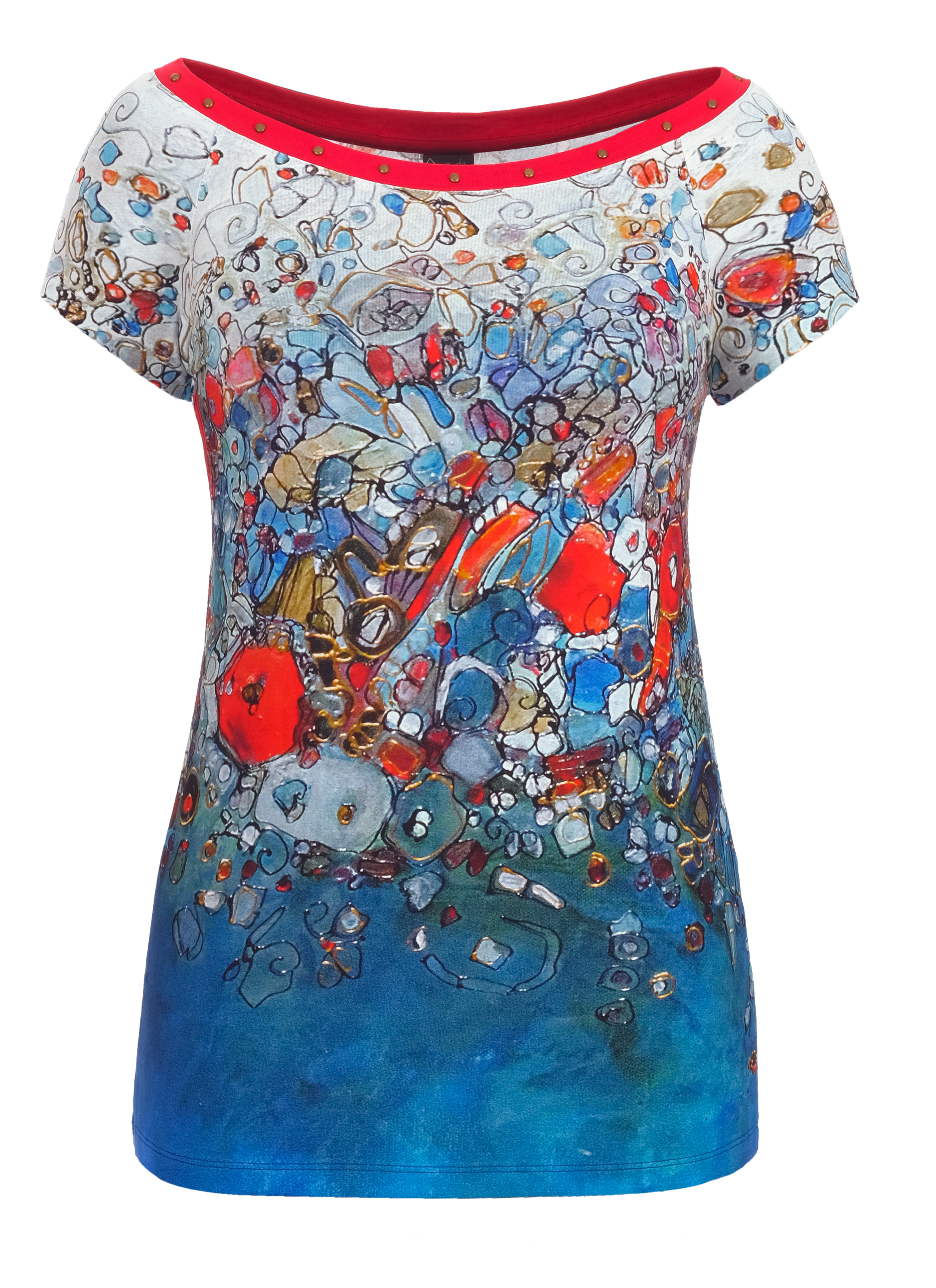 Simply Art Dolcezza: Stunning Red New Magma Abstract art Jeweled Neck Top Dolcezza_SimplyArt_21730
