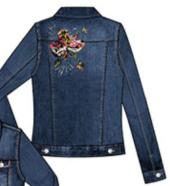 Dolcezza: Hand Painted Pink Butterfly Distressed Jean Jacket Dolcezza_21306