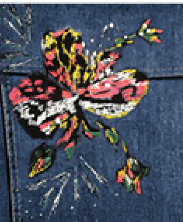 Dolcezza: Hand Painted Pink Butterfly Distressed Jean Jacket