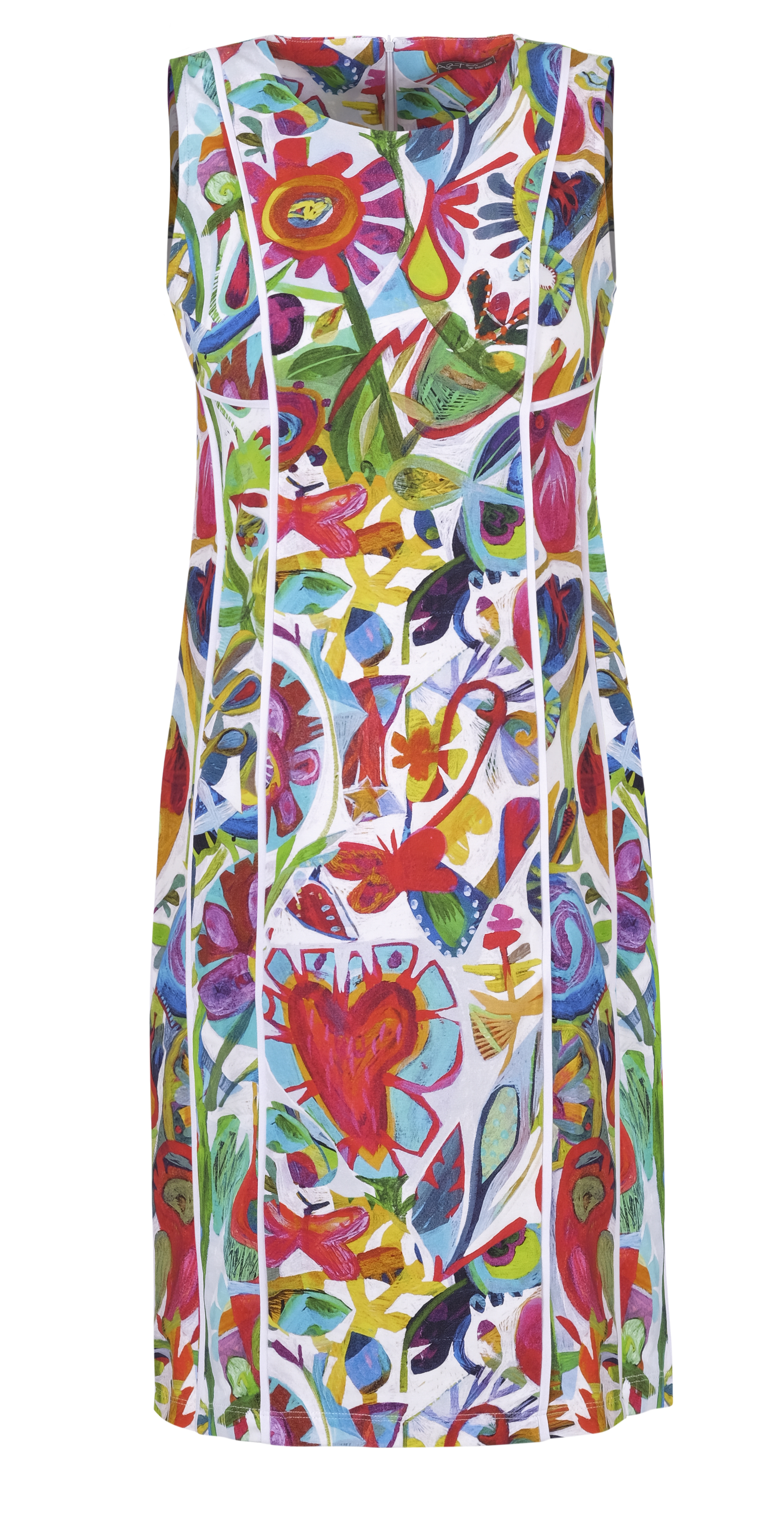 Simply Art Dolcezza: Flower Heart Princess Seamed Abstract Art Dress Dolcezza_SimplyArt_21624