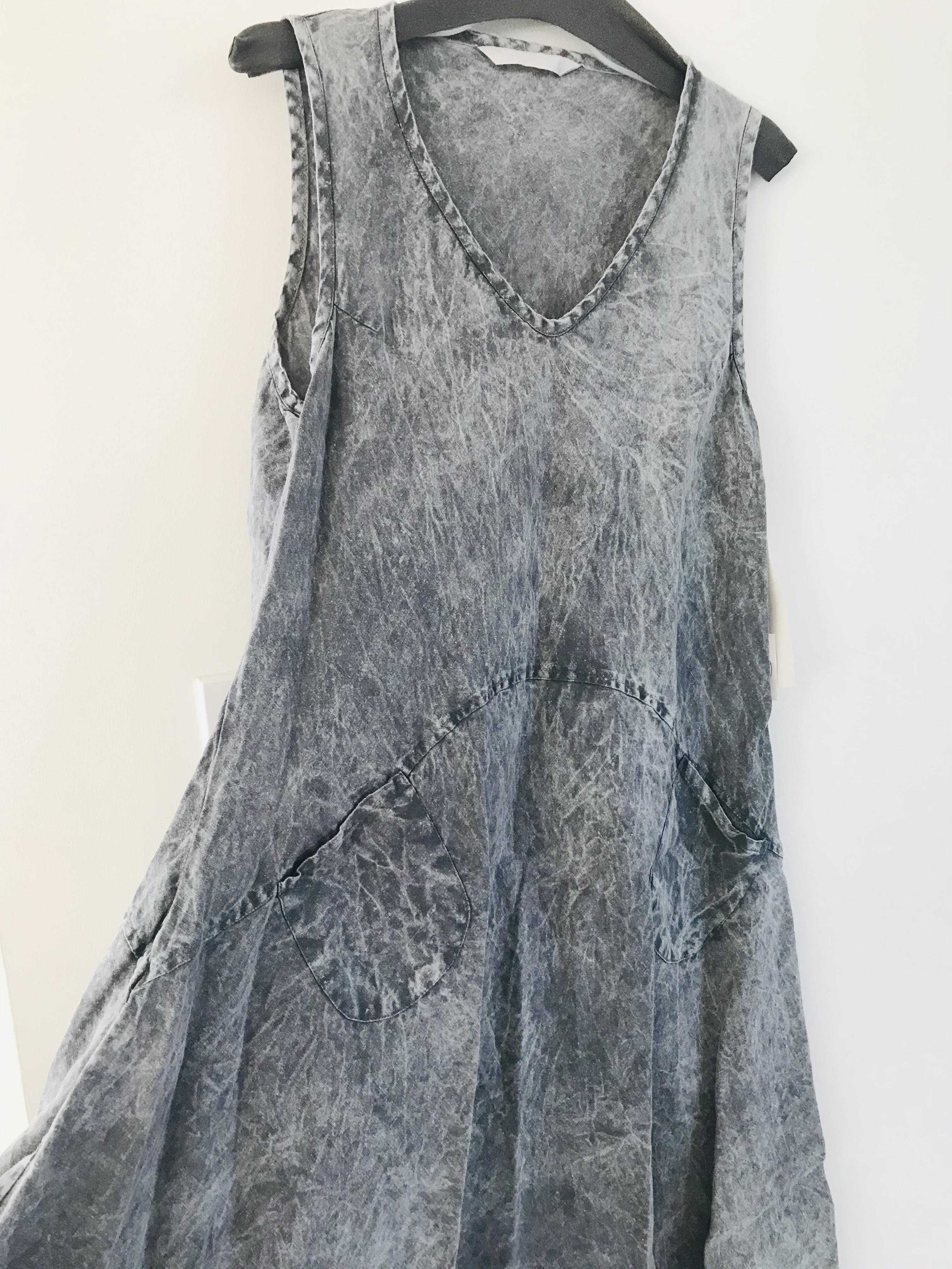Luna Luz: Ribbed Linen A-Line Tie Dye Dress (Ships Immed in Grey Saltwash!) LLL_7769T_Grey_Saltwash