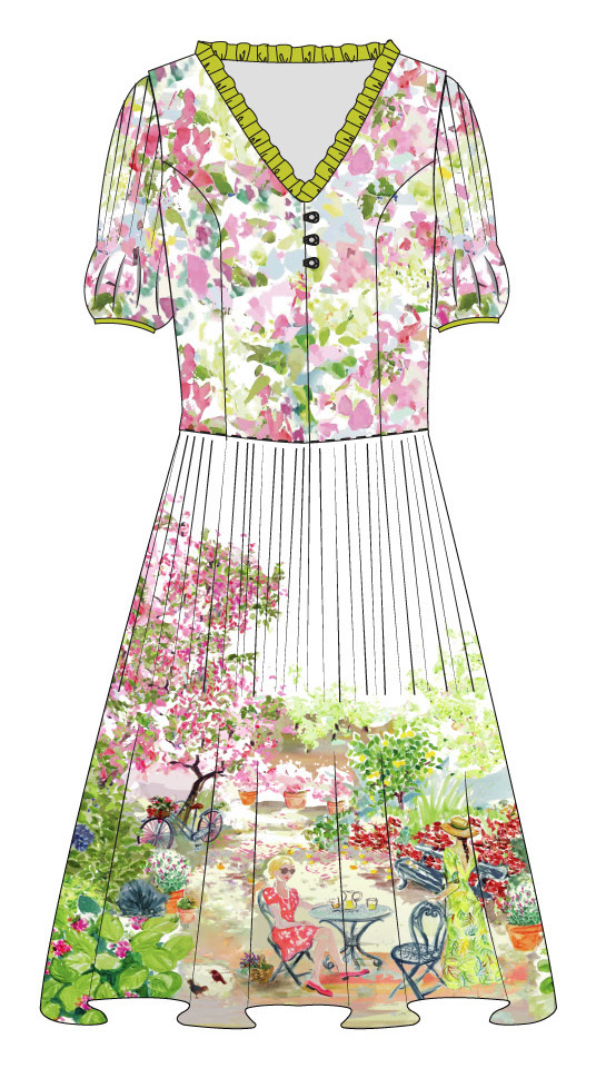 Paul Brial: Spring Is In The Air Art Flared Dress (Few Left!)