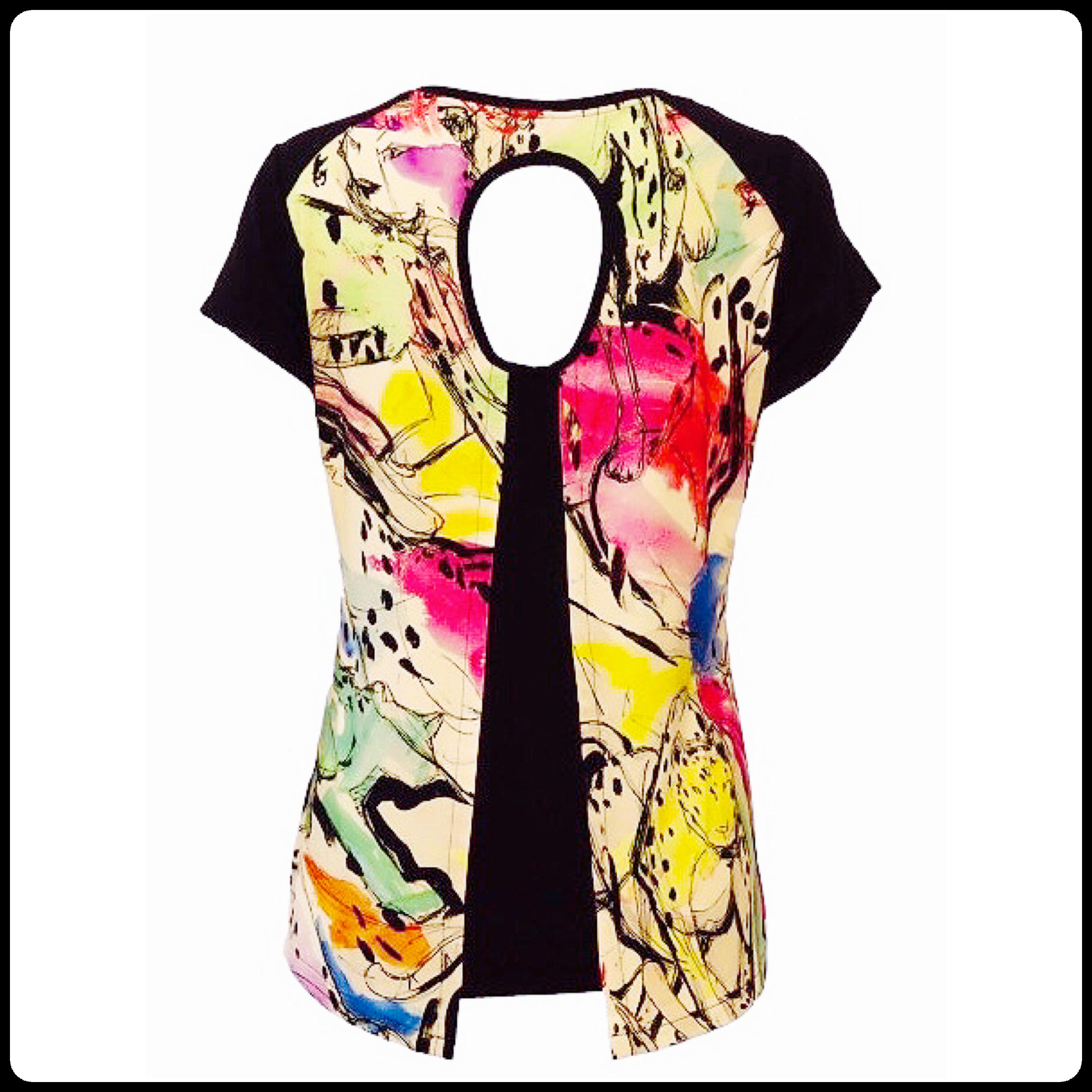 Maloka: Pink Leopard Faux Split Abstract Art T-Shirt (1 Left!)