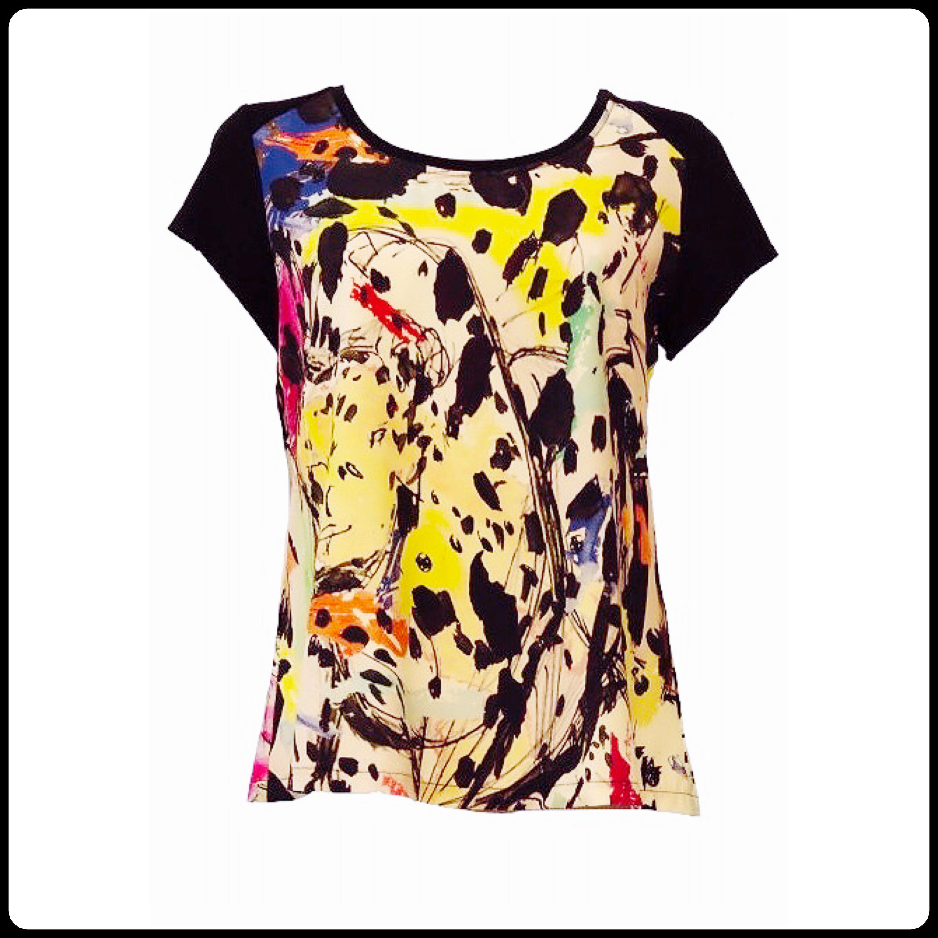 Maloka: Pink Leopard Faux Split Abstract Art T-Shirt (1 Left!) MK_OSIANA_N