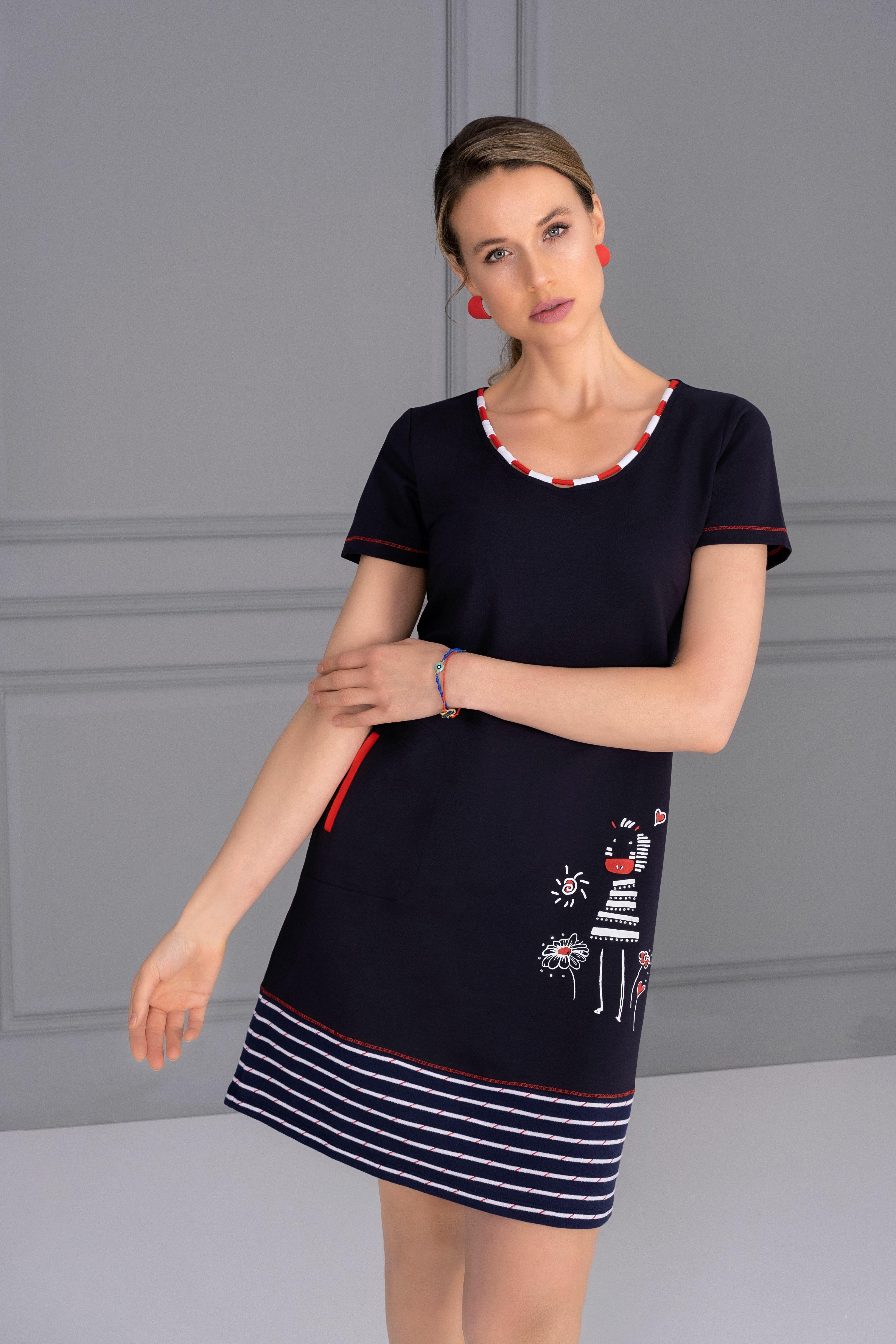 Dolcezza: Humour Me In Navy Art Pocket Dress (Few Left!) Dolcezza_21108