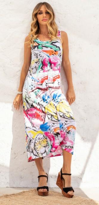 Maloka: Pink Leopard Abstract Art High Waisted Maxi Dress (Few Left!) MK_OLIVIER