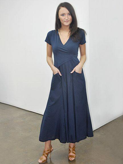 Luna Luz: Short Sleeve Cross Over Bodice Tie Dye Long Dress (Ships Immed: Black Botanical!) LL_518_BLACK_BOTANICAL_NEW